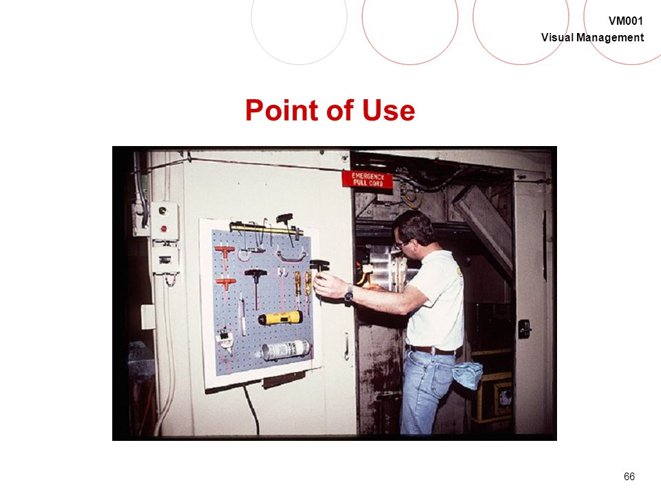 65 VM001 Visual Management Point of Use Tools Parts disposal Operating procedures Lock-out instructions Materials/Finished goods Information Looking F