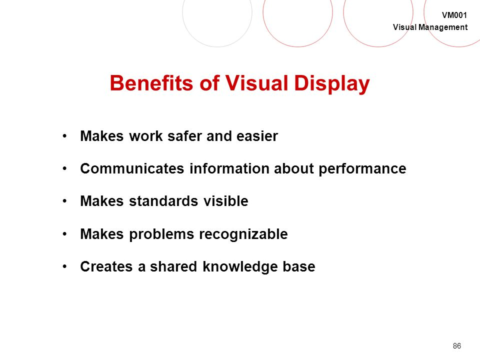 85 VM001 Visual Management Phase 2: Visual Display Definition: A method to visually communicate important information in the workplace Information reg