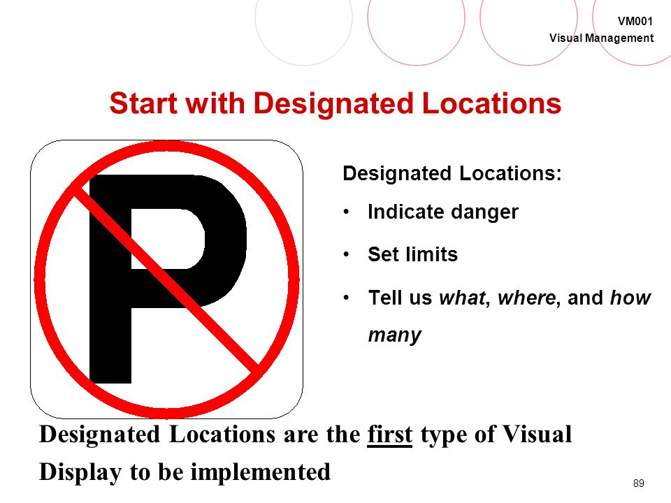 88 VM001 Visual Management Types of Visual Display Begin implementing Visual Display with: Designated Locations Indicate danger; Set limits; Make work