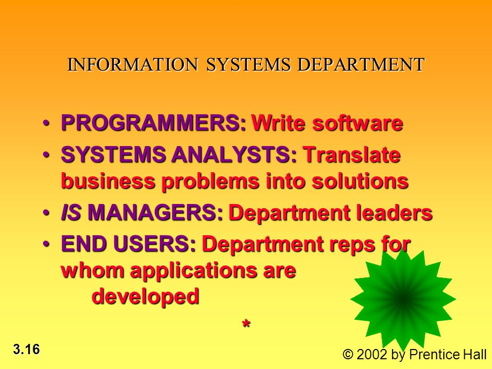 3.16 © 2002 by Prentice Hall INFORMATION SYSTEMS DEPARTMENT PROGRAMMERS: Write softwarePROGRAMMERS: Write software SYSTEMS ANALYSTS: Translate business problems into solutionsSYSTEMS ANALYSTS: Translate business problems into solutions IS MANAGERS: Department leadersIS MANAGERS: Department leaders END USERS: Department reps for whom applications are developedEND USERS: Department reps for whom applications are developed*