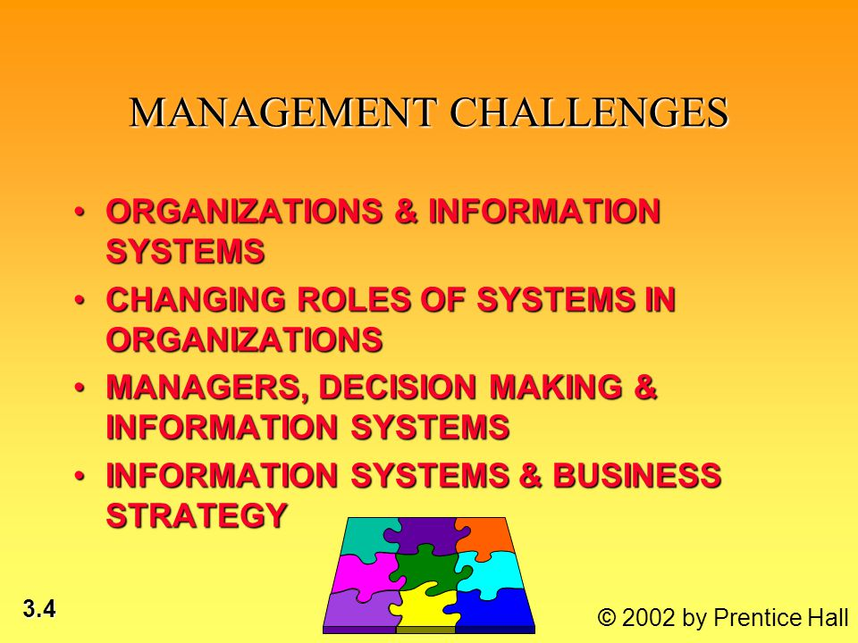 3.4 MANAGEMENT CHALLENGES ORGANIZATIONS & INFORMATION SYSTEMSORGANIZATIONS & INFORMATION SYSTEMS CHANGING ROLES OF SYSTEMS IN ORGANIZATIONSCHANGING ROLES OF SYSTEMS IN ORGANIZATIONS MANAGERS, DECISION MAKING & INFORMATION SYSTEMSMANAGERS, DECISION MAKING & INFORMATION SYSTEMS INFORMATION SYSTEMS & BUSINESS STRATEGYINFORMATION SYSTEMS & BUSINESS STRATEGY*