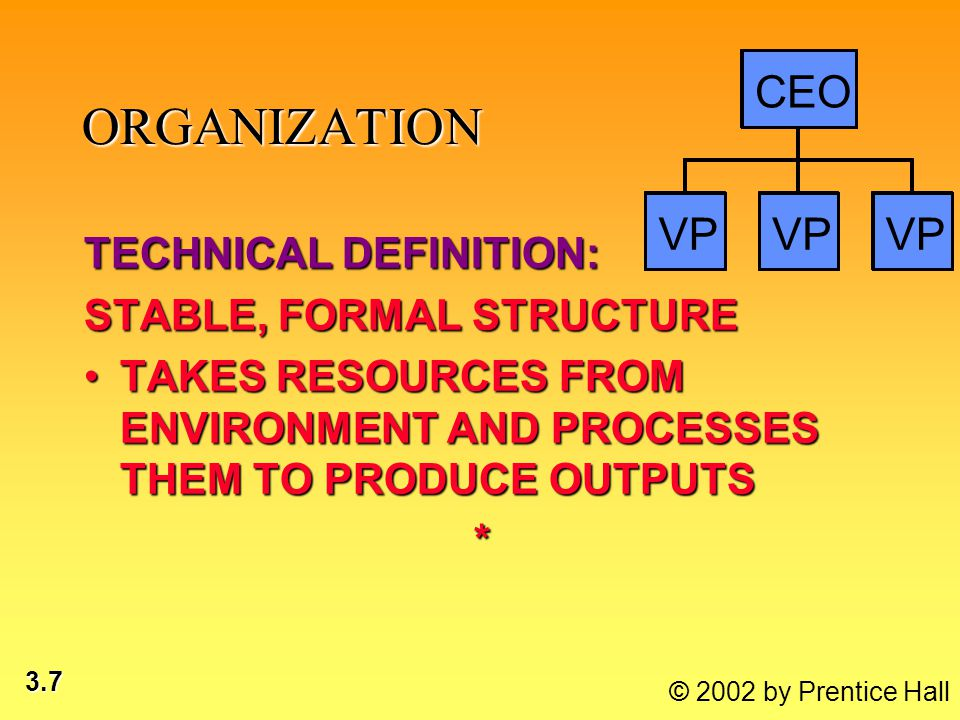 3.7 © 2002 by Prentice Hall VP CEO ORGANIZATION TECHNICAL DEFINITION: STABLE, FORMAL STRUCTURE TAKES RESOURCES FROM ENVIRONMENT AND PROCESSES THEM TO PRODUCE OUTPUTSTAKES RESOURCES FROM ENVIRONMENT AND PROCESSES THEM TO PRODUCE OUTPUTS*