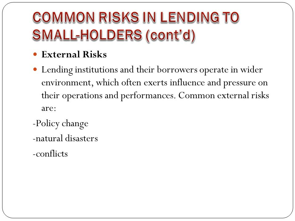 External Risks Lending institutions and their borrowers operate in wider environment, which often exerts influence and pressure on their operations and performances.