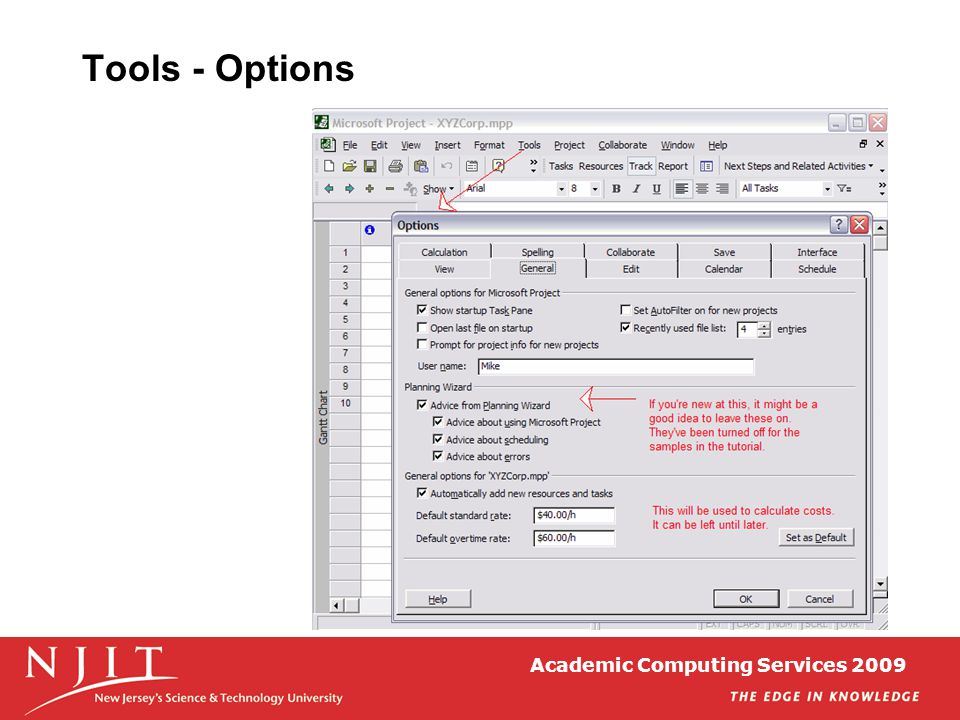 Academic Computing Services 2009 Tools - Options