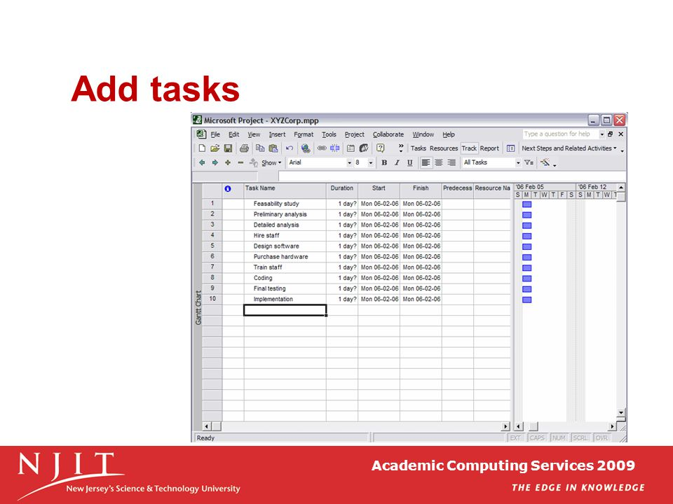Academic Computing Services 2009 Add tasks