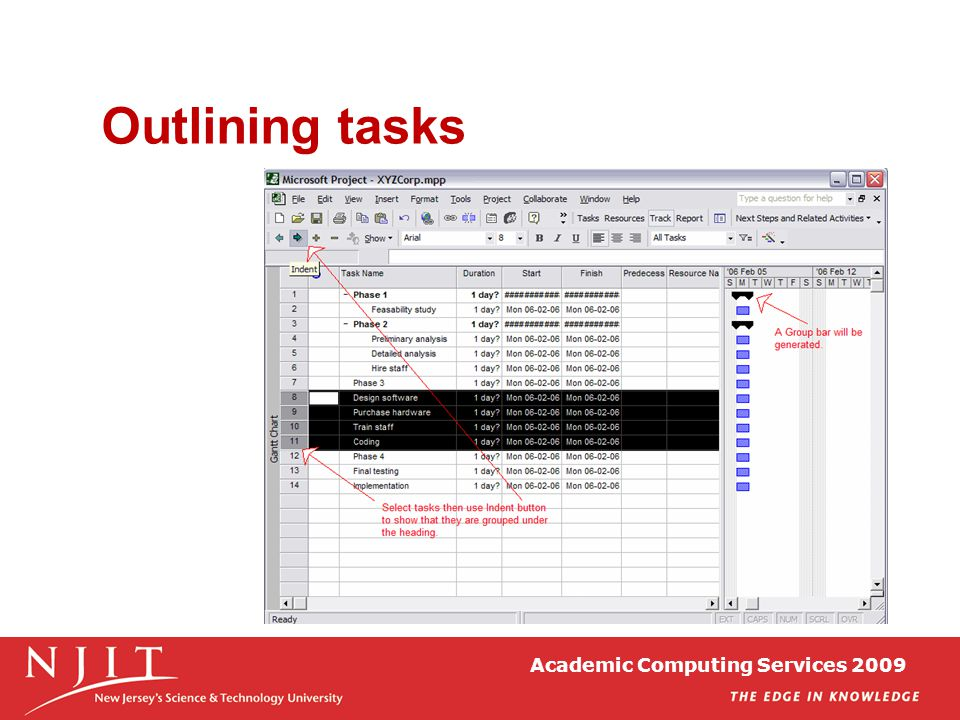 Academic Computing Services 2009 Outlining tasks