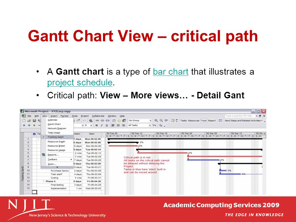 Academic Computing Services 2009 Gantt Chart View – critical path A Gantt chart is a type of bar chart that illustrates a project schedule.bar chart p
