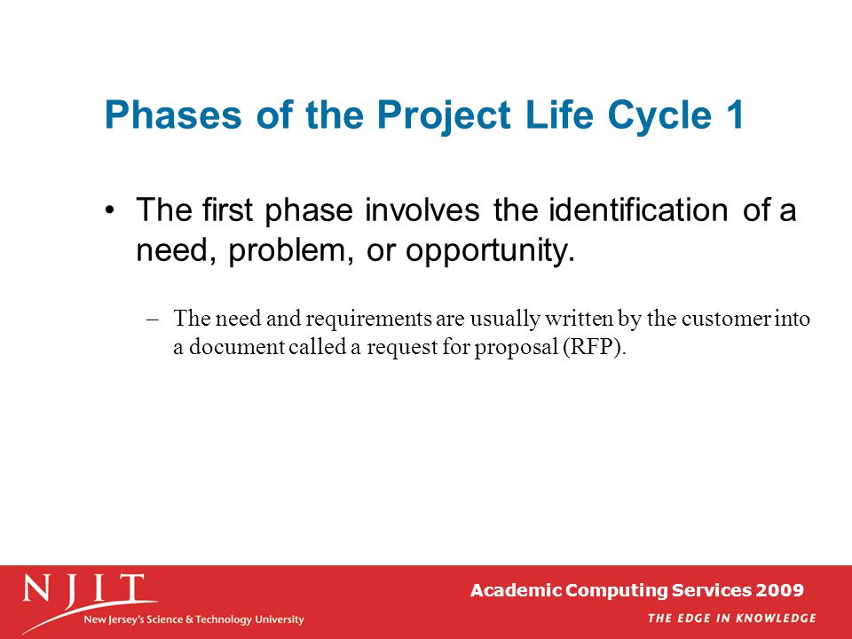 Phases of the Project Life Cycle 1 The first phase involves the identification of a need, problem, or opportunity. –The need and requirements are usua