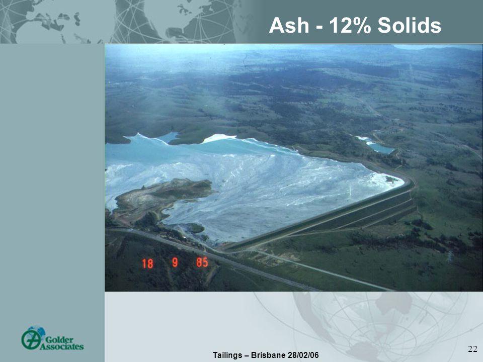 Tailings – Brisbane 28/02/06 22 Ash - 12% Solids