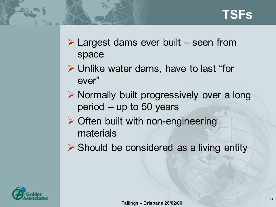 Tailings – Brisbane 28/02/06 10 20 Years On using Tailings! Upstream raised gold TSF