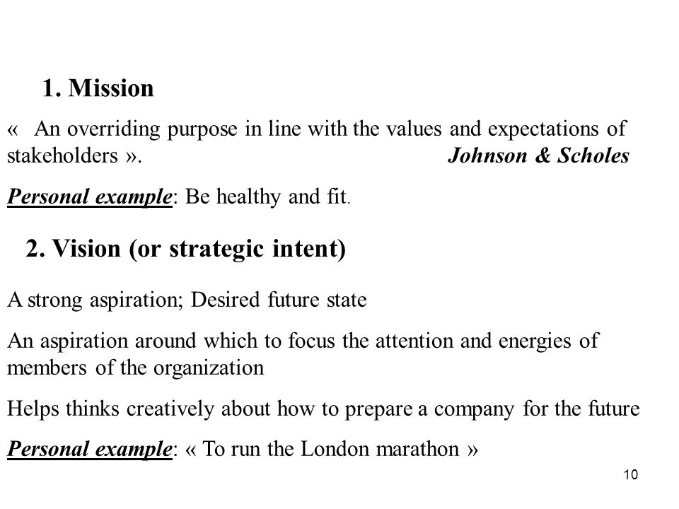 10 « An overriding purpose in line with the values and expectations of stakeholders ». Johnson & Scholes Personal example: Be healthy and fit. A stron