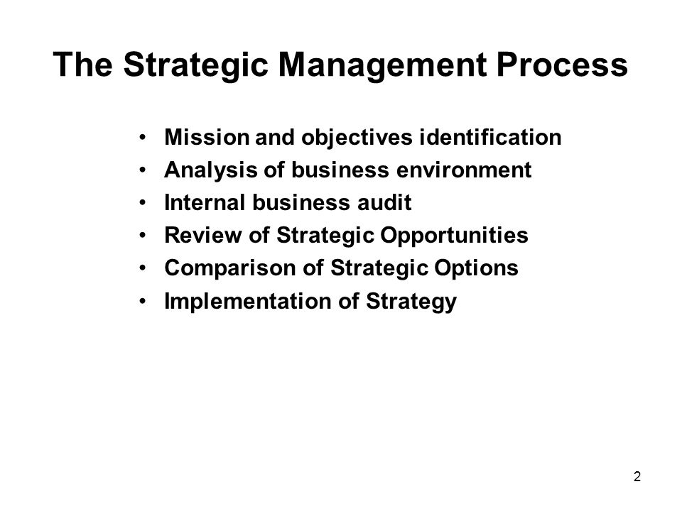 2 The Strategic Management Process Mission and objectives identification Analysis of business environment Internal business audit Review of Strategic