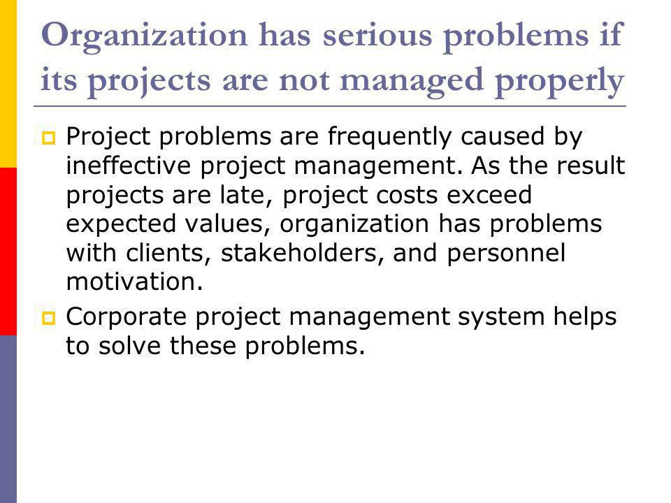Organization has serious problems if its projects are not managed properly Project problems are frequently caused by ineffective project management. A