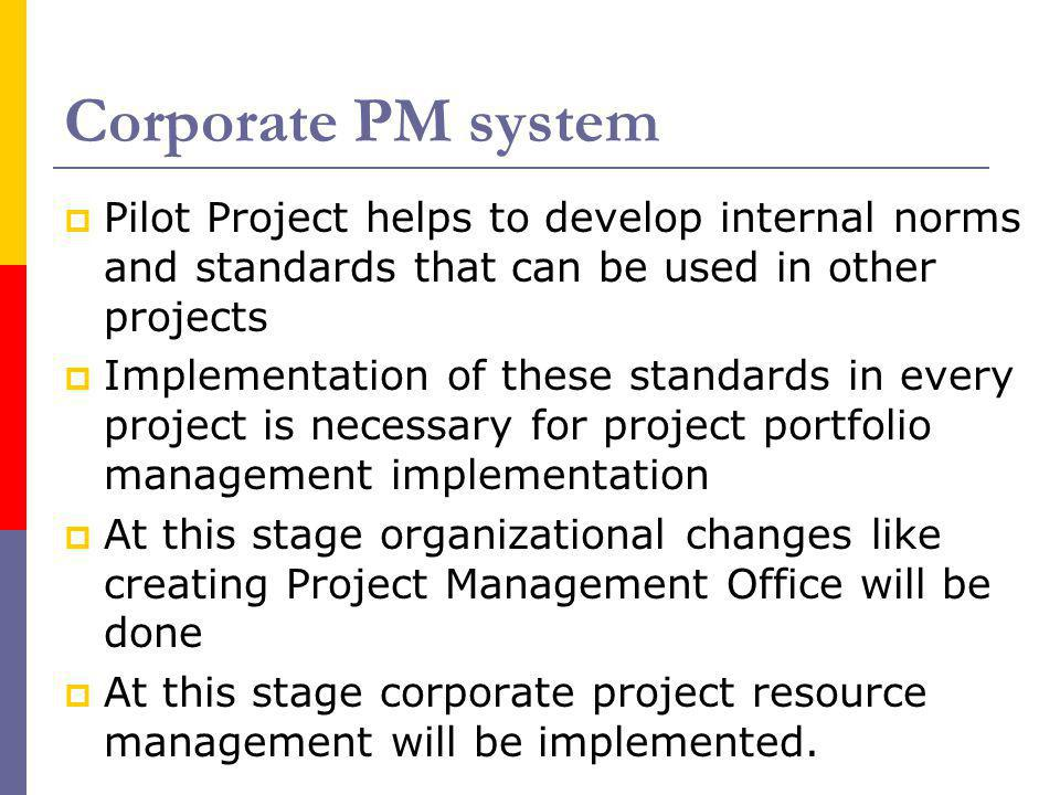 Corporate PM system Pilot Project helps to develop internal norms and standards that can be used in other projects Implementation of these standards i