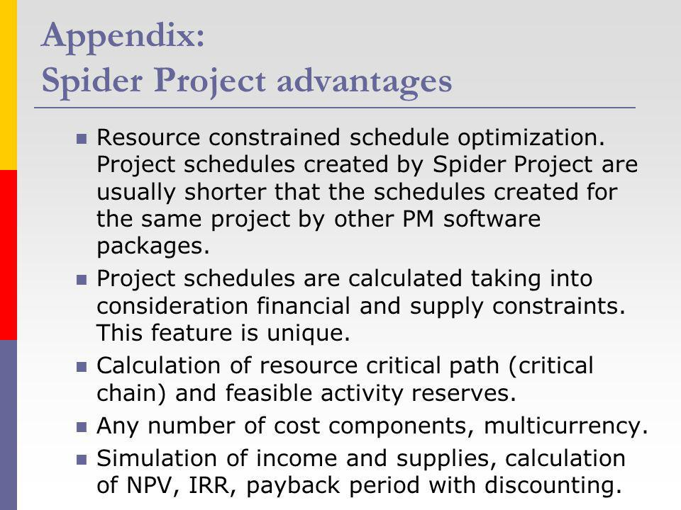Appendix: Spider Project advantages Resource constrained schedule optimization. Project schedules created by Spider Project are usually shorter that t
