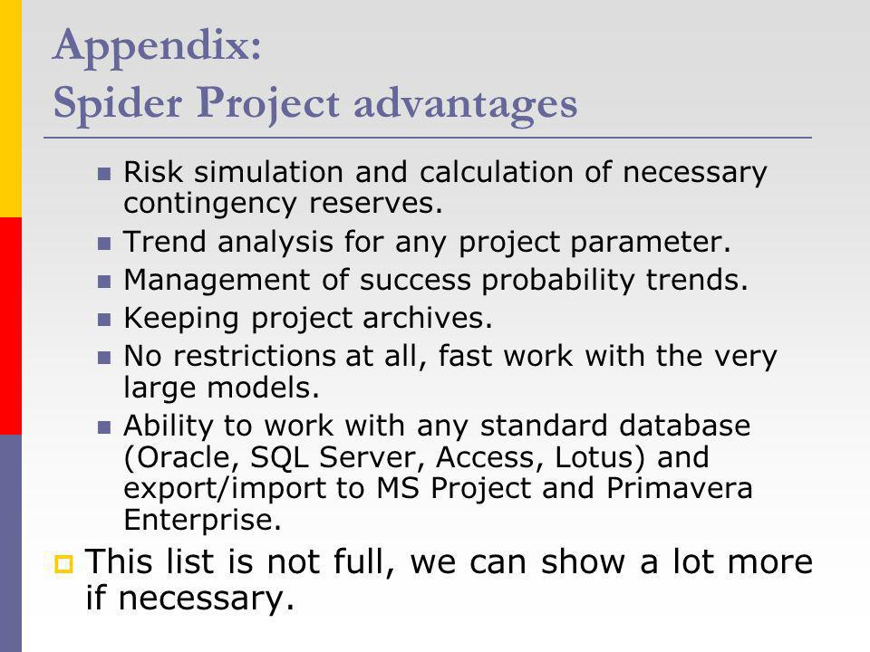 Appendix: Spider Project advantages Risk simulation and calculation of necessary contingency reserves. Trend analysis for any project parameter. Manag