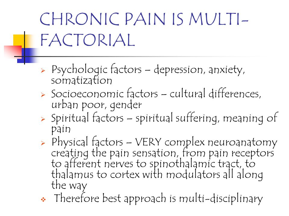 CHRONIC PAIN IS MULTI- FACTORIAL Psychologic factors – depression, anxiety, somatization Socioeconomic factors – cultural differences, urban poor, gen