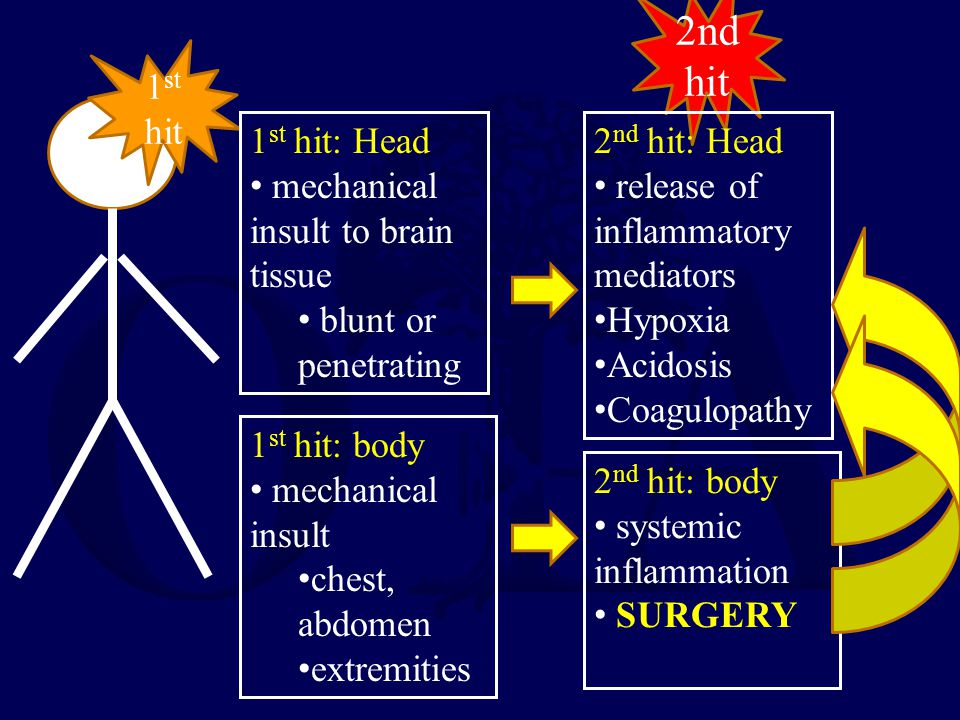 1 st hit 1 st hit: Head mechanical insult to brain tissue blunt or penetrating 1 st hit: body mechanical insult chest, abdomen extremities 2nd hit 2 n