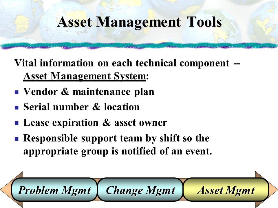 Asset Management Tools Vital information on each technical component -- Asset Management System: Vendor & maintenance plan Serial number & location Le