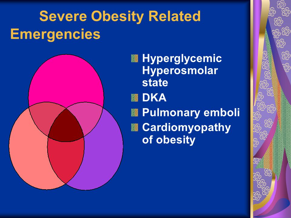 Severe Obesity Related Emergencies Hyperglycemic Hyperosmolar state DKA Pulmonary emboli Cardiomyopathy of obesity