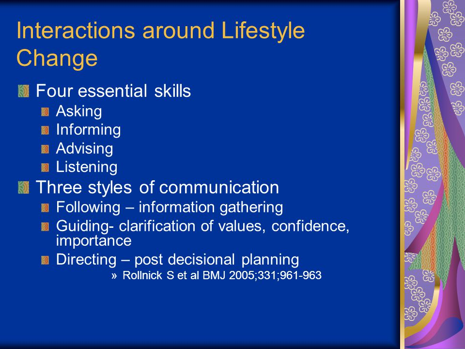 Interactions around Lifestyle Change Four essential skills Asking Informing Advising Listening Three styles of communication Following – information gathering Guiding- clarification of values, confidence, importance Directing – post decisional planning »Rollnick S et al BMJ 2005;331;