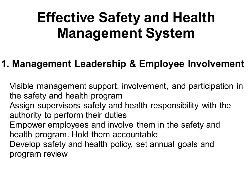 1. Management Leadership & Employee Involvement Visible management support, involvement, and participation in the safety and health program Assign sup