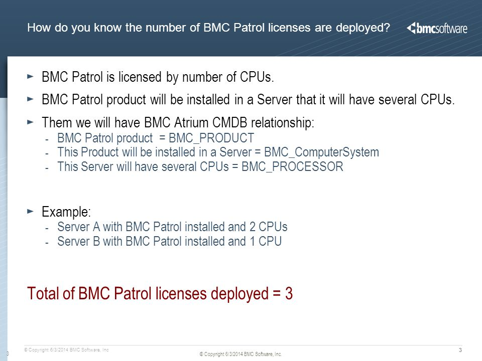 © Copyright 6/3/2014 BMC Software, Inc 4 © Copyright 6/3/2014 BMC Software, Inc.