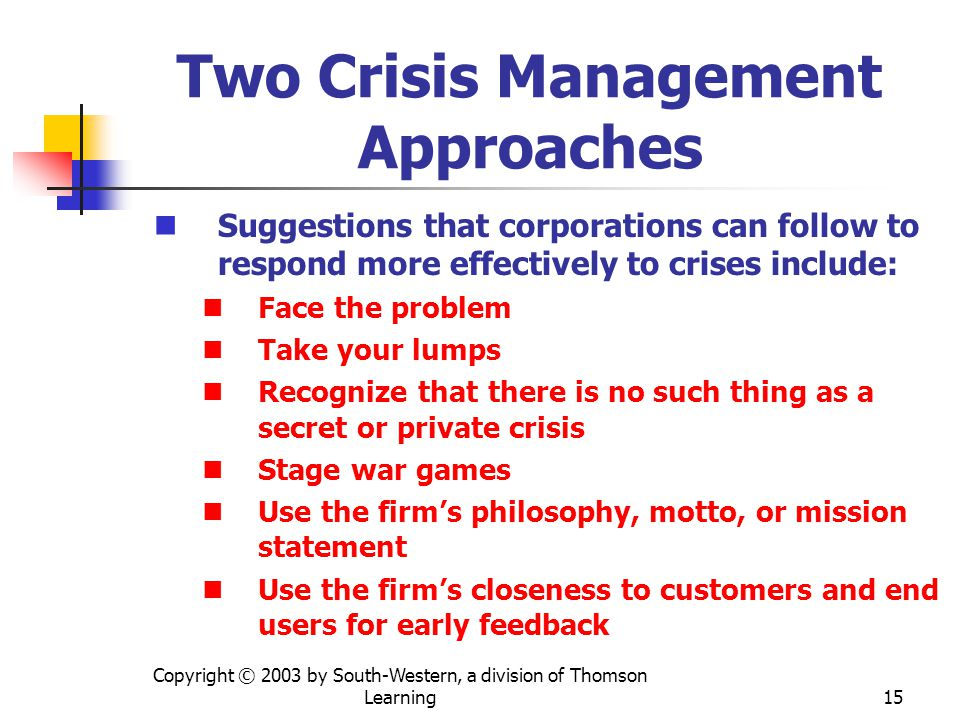Copyright © 2003 by South-Western, a division of Thomson Learning 15 Two Crisis Management Approaches Suggestions that corporations can follow to respond more effectively to crises include: Face the problem Take your lumps Recognize that there is no such thing as a secret or private crisis Stage war games Use the firms philosophy, motto, or mission statement Use the firms closeness to customers and end users for early feedback