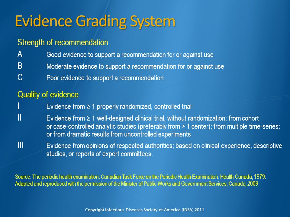 Evidence Grading System Strength of recommendation A Good evidence to support a recommendation for or against use B Moderate evidence to support a rec