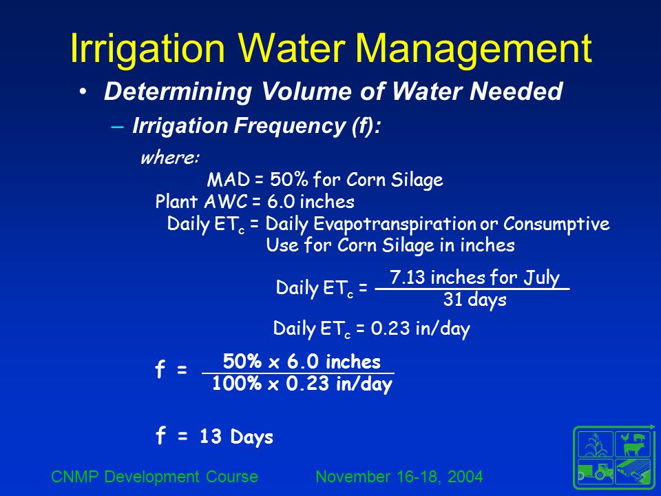 CNMP Development Course November 16-18, 2004 Irrigation Water Management Determining Volume of Water Needed –Irrigation Frequency (f): where: MAD = 50