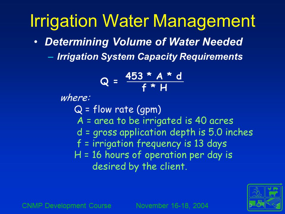 CNMP Development Course November 16-18, 2004 Irrigation Water Management Determining Volume of Water Needed –Irrigation System Capacity Requirements Q