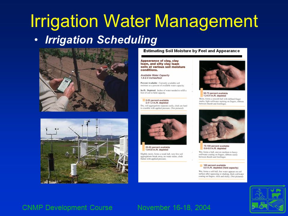 CNMP Development Course November 16-18, 2004 Irrigation Water Management Irrigation Scheduling