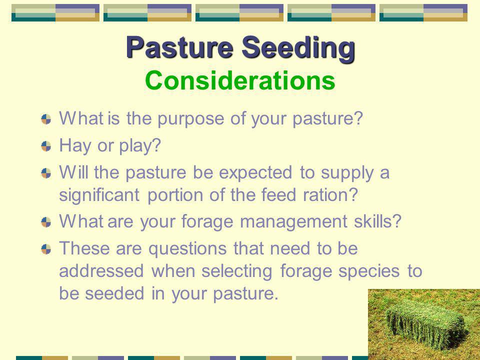 Pasture Seeding Pasture Seeding Considerations Can animals be removed during the renovation process and forage establishment period? *often the overgr