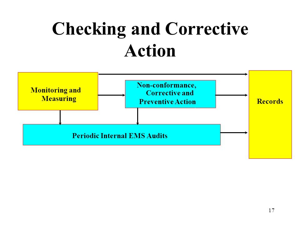 17 Checking and Corrective Action Records Monitoring and Measuring Periodic Internal EMS Audits Non-conformance, Corrective and Preventive Action