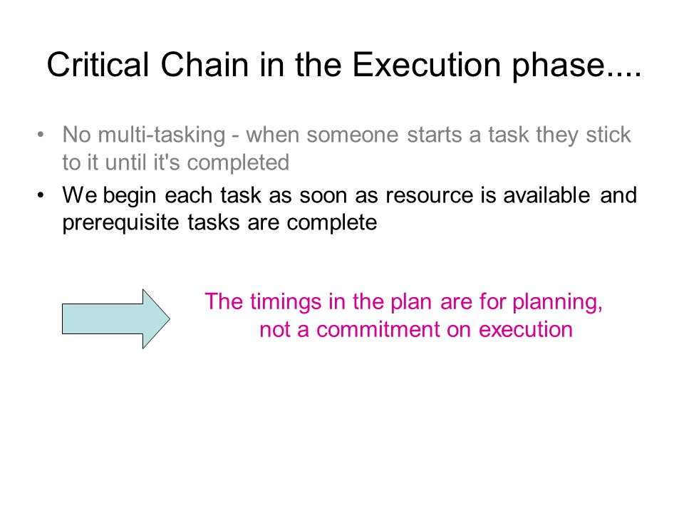 Critical Chain in the Execution phase....