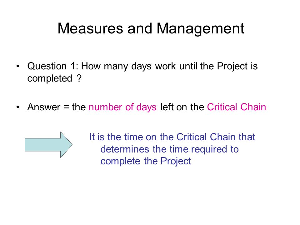 Measures and Management Question 1: How many days work until the Project is completed .
