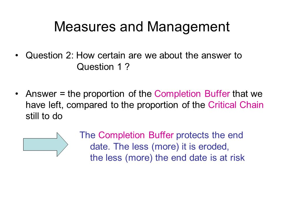 Measures and Management Question 2: How certain are we about the answer to Question 1 .