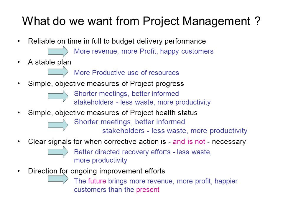 Reliable on time in full to budget delivery performance More revenue, more Profit, happy customers A stable plan More Productive use of resources Simple, objective measures of Project progress Shorter meetings, better informed stakeholders - less waste, more productivity Simple, objective measures of Project health status Shorter meetings, better informed stakeholders - less waste, more productivity Clear signals for when corrective action is - and is not - necessary Better directed recovery efforts - less waste, more productivity Direction for ongoing improvement efforts The future brings more revenue, more profit, happier customers than the present