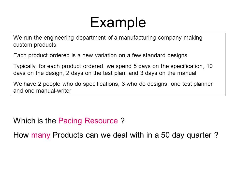 Example Which is the Pacing Resource . How many Products can we deal with in a 50 day quarter .