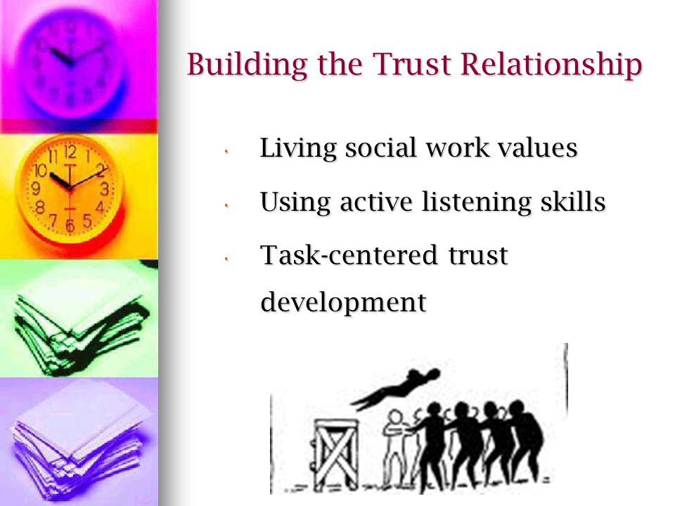 Building the Trust Relationship Living social work values Living social work values Using active listening skills Using active listening skills Task-centered trust development Task-centered trust development