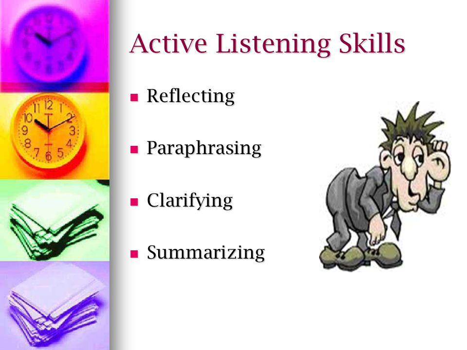 Active Listening Skills Reflecting Reflecting Paraphrasing Paraphrasing Clarifying Clarifying Summarizing Summarizing
