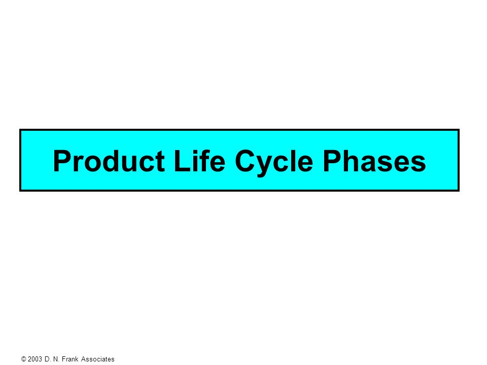 © 2003 D. N. Frank Associates Product Life Cycle Phases