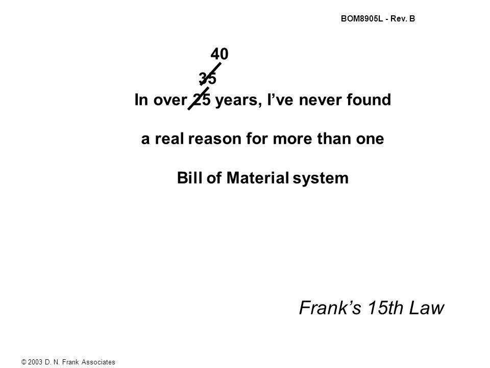 © 2003 D. N. Frank Associates BOM8905L - Rev.