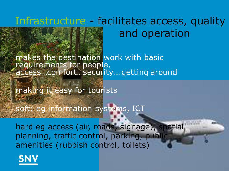 Infrastructure - facilitates access, quality and operation makes the destination work with basic requirements for people, access…comfort…security...getting around making it easy for tourists soft: eg information systems, ICT hard eg access (air, roads, signage), spatial planning, traffic control, parking, public amenities (rubbish control, toilets)