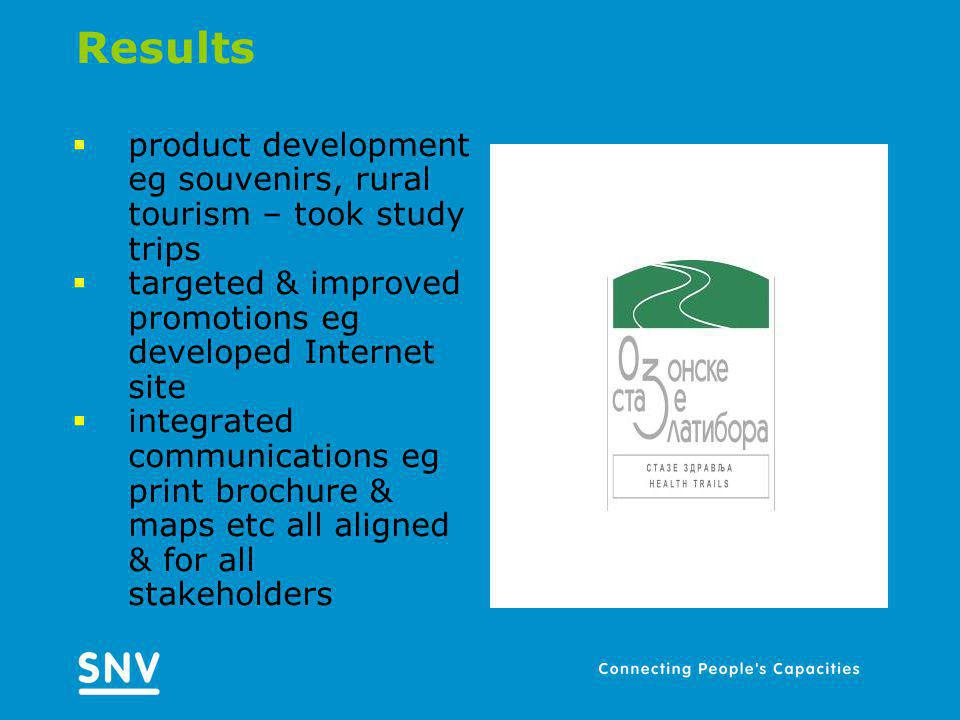 Results product development eg souvenirs, rural tourism – took study trips targeted & improved promotions eg developed Internet site integrated communications eg print brochure & maps etc all aligned & for all stakeholders