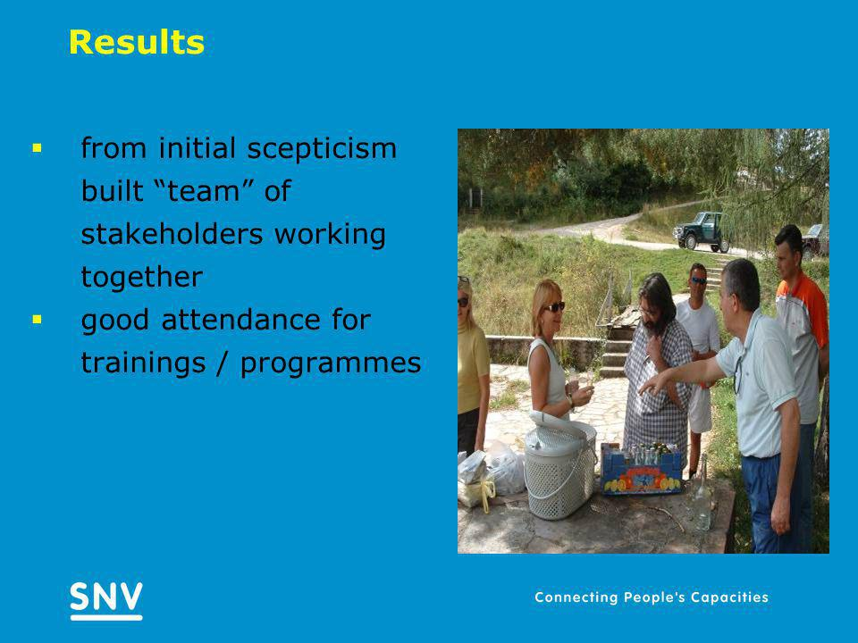 Results from initial scepticism built team of stakeholders working together good attendance for trainings / programmes