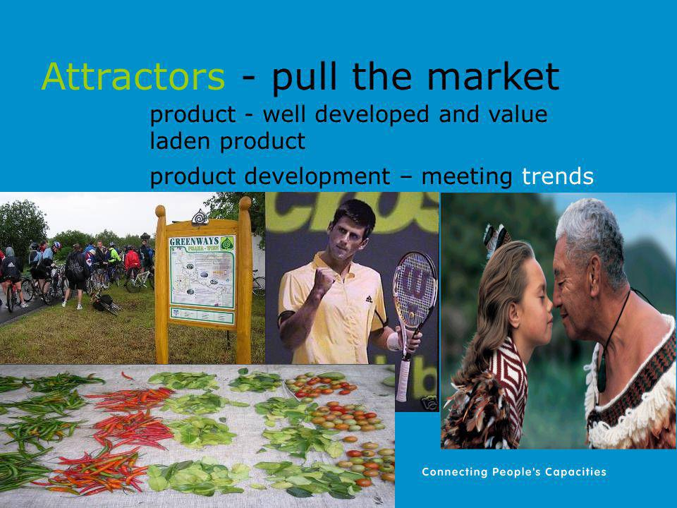 Attractors - pull the market product - well developed and value laden product product development – meeting trends