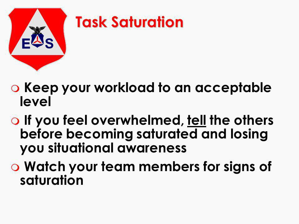Task Saturation m Keep your workload to an acceptable level m If you feel overwhelmed, tell the others before becoming saturated and losing you situational awareness m Watch your team members for signs of saturation