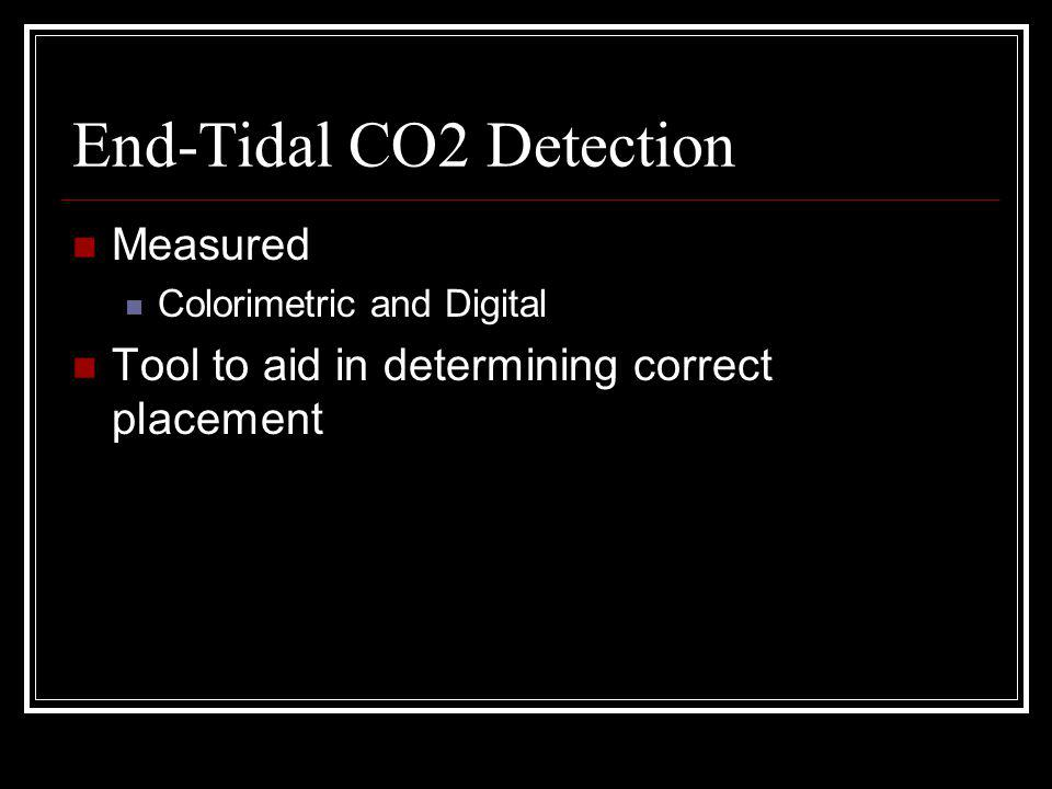 End-Tidal CO2 Detection Measured Colorimetric and Digital Tool to aid in determining correct placement