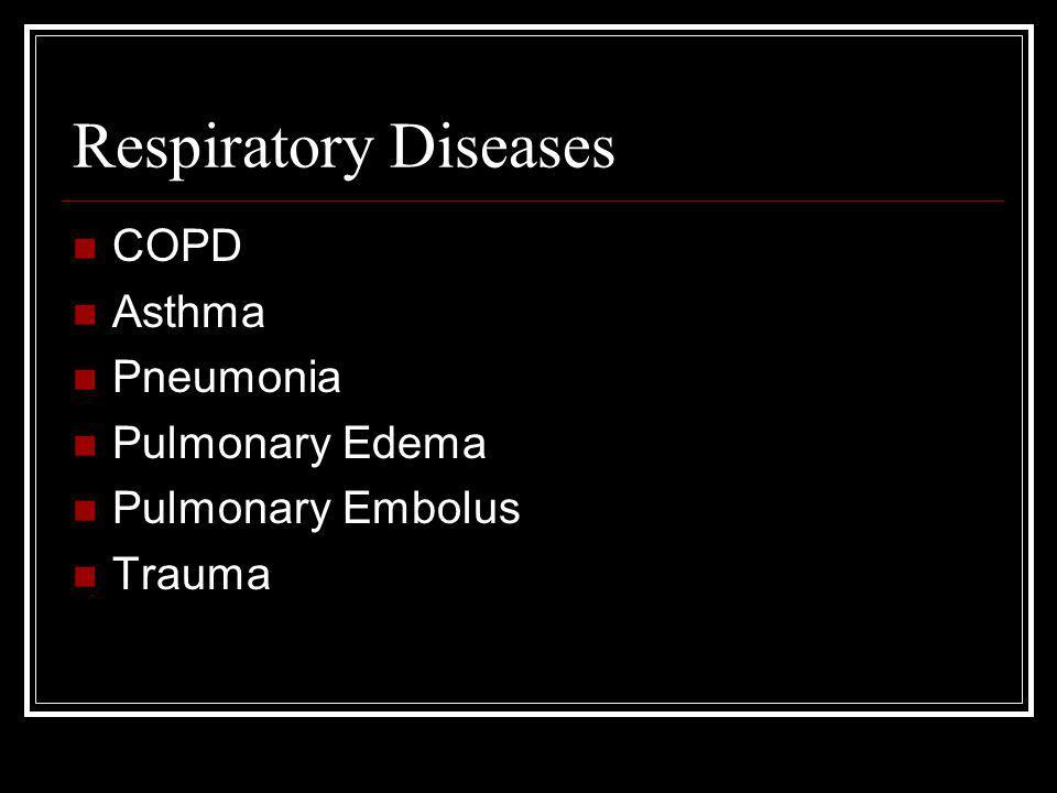 Respiratory Diseases COPD Asthma Pneumonia Pulmonary Edema Pulmonary Embolus Trauma